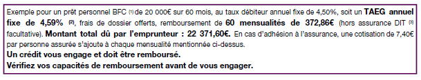 exemple prêt consommation