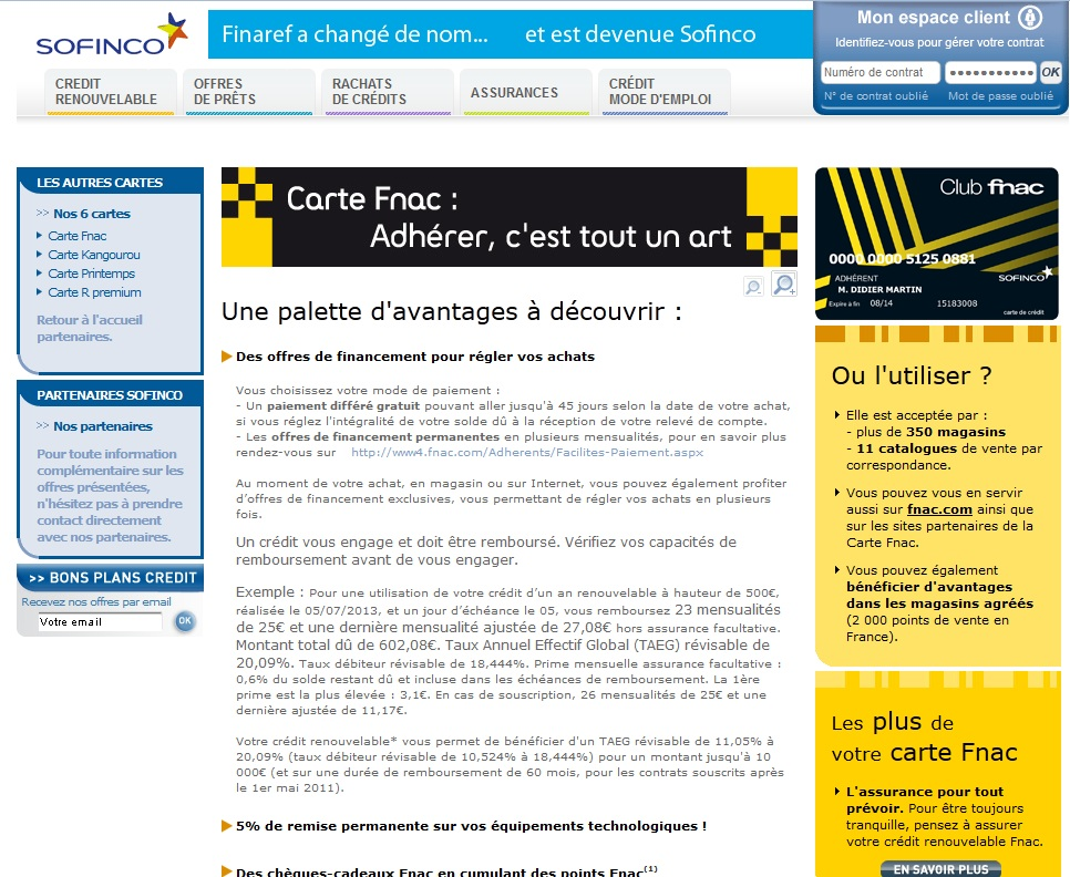 extrait du site www.sofinco.fr