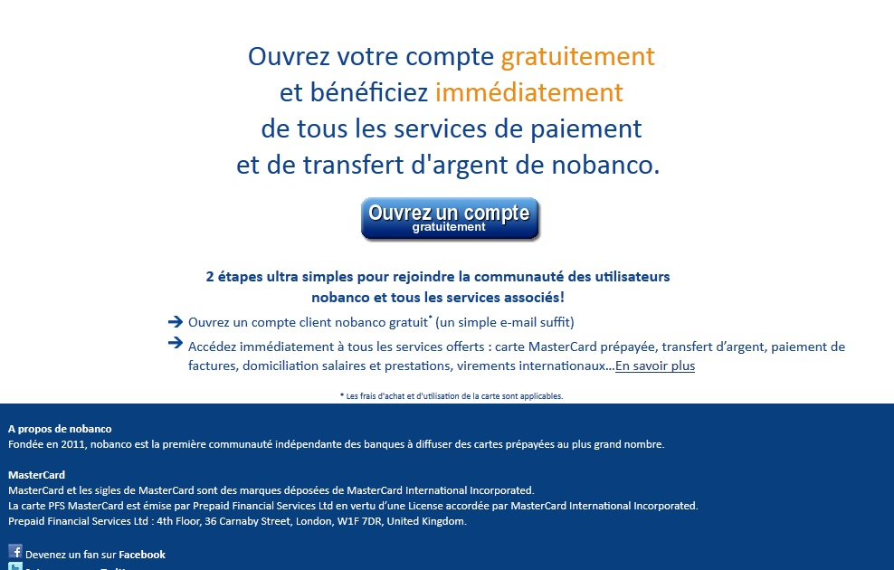 Carte Bancaire Prepayee Nobanco.Contact Nobanco Adresse Site Web Mail Telephone Fax