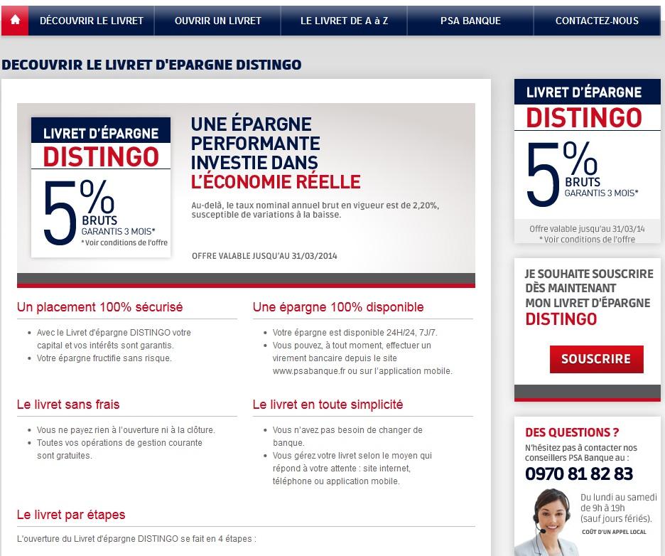 Extrait PSA banque le site psabanque.fr